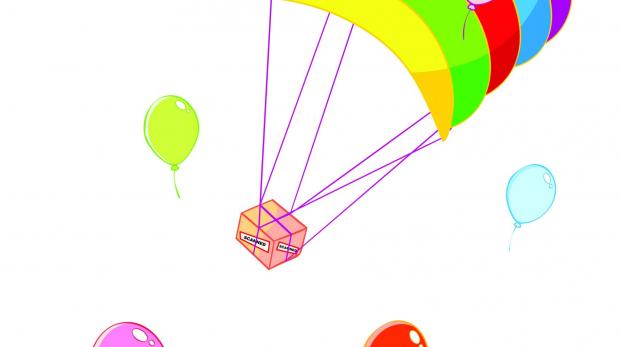 Paket mit Fallschirm